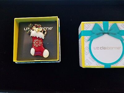 New in Box, Liz Claiborne Christmas stocking pin brooch, Retailed $24