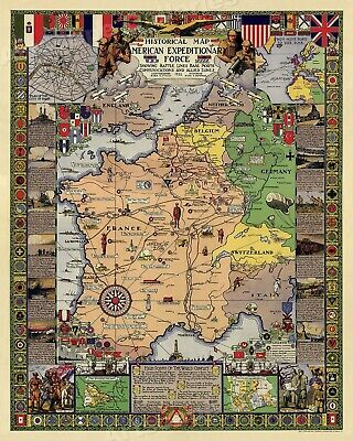 Historical Battle Map American Expeditionary Force - WWI Conflict Map - 20x24