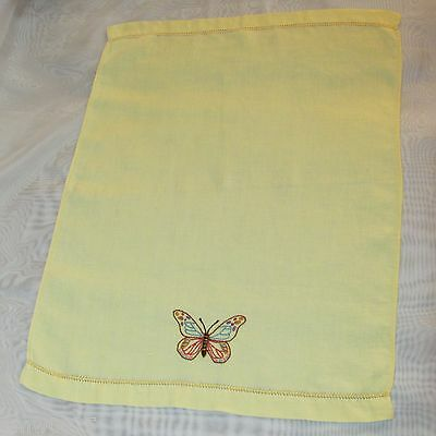Vintage Yellow Guest Towel Hand Embroidered Butterfly Fingertip Cotton Linen