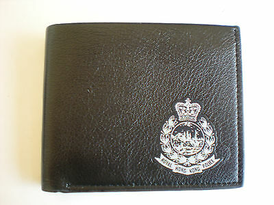 Leather Wallet with Royal Hong Kong Police blk&silver woven badge,bifold,black