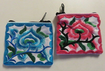 Brightly coloured embroidered coin purse / makeup bag 10 x 11 cm