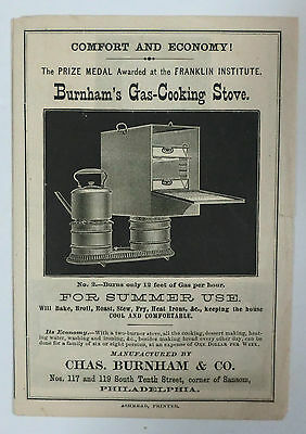 Burnham's Gas Cooking Stove Catalog Philadelphia PA 1875