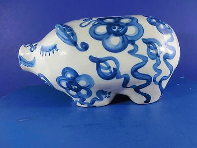 Heavy Ceramic Hand Painted Pig Piggy Bank 9.5 Inches Labeled Judy Signed EUC