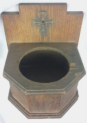 Vintage Antique From a Church Wood Hanging Wall Planter Plant Pot
