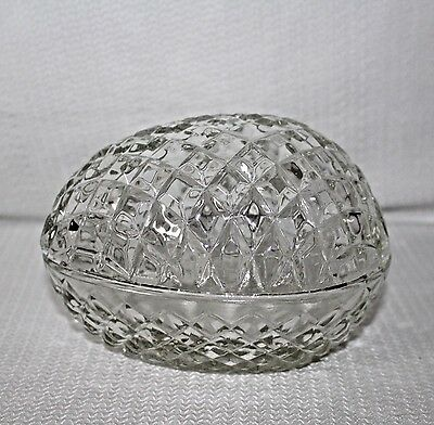 Lovely Clear Diamond Cut Egg Candy/Trinket Dish With Lid
