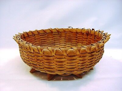 *ea.1900's Northeastern Mowhawk MicMac Tribe Woven Spiked Wicker Basket Bowl
