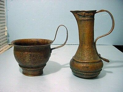 Very Early Judaica Copper Spiritual Pitcher & Chalice