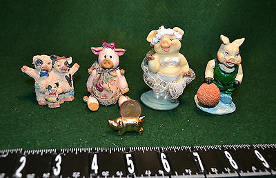 Lot Of 5 Figurines/pigs/piglets/from 90's