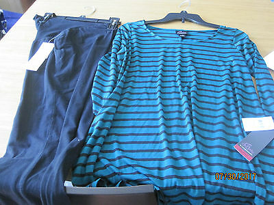 NEW w tags Oh Baby by Motherhood Legging yoga pants AND Striped Top Sz S Small