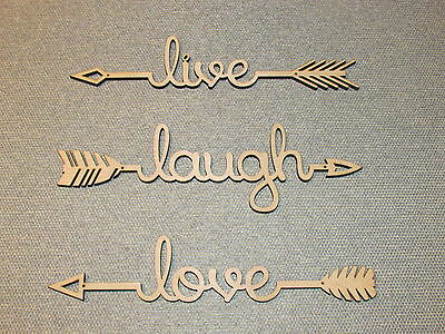 Live Laugh Love Unfinished Natural Wood Arrow Set