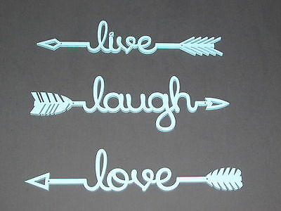 Live Laugh Love Wood Turquoise Arrow Set