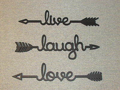 Live Laugh Love Wood Black Arrow Set
