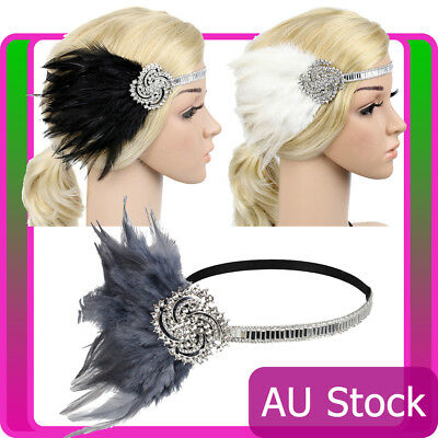 1920s Headband Feather Vintage Bridal 20s Gatsby Flapper Headpiece Gangster 20's