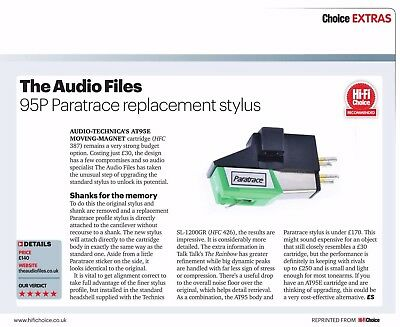 HiFi Choice review of the '95P'  Paratrace Upgrade Stylus for the AT-95E AT95E