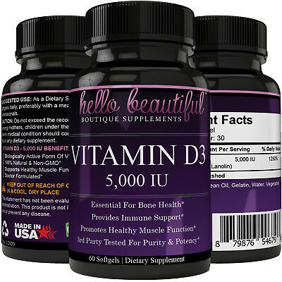 Vitamin D3 5000iu for Healthy Muscle Function, Bone Health and Immune Support