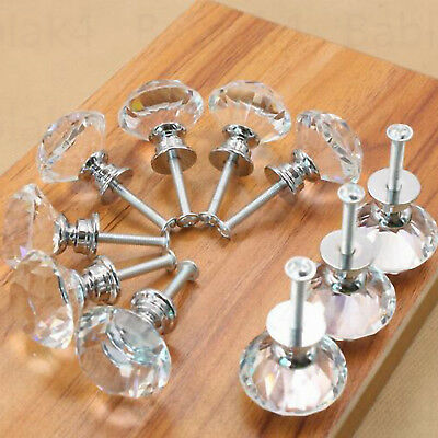 40mm Clear Crystal Glass Door Knobs Cupboard Drawer Cabinet Kitchen Handles UK