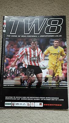 Brentford V Middlesbrough League Cup Second Round 2002-03
