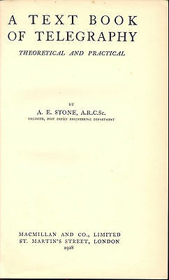Electric Telegraph Textbook Stone Submarine Telegraphy Radio 1928