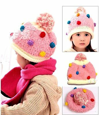 Girls Toddlers Winter Knitted Plush Pink Cream Hat Beanie with Poms Age 2-4