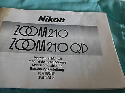 instruction manual for Nikon  Zoom M 210 camera -  good condition 5 languages