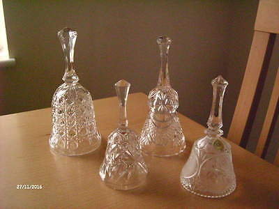 Vintage Collection Of Four Clear Crystal Cut Glass Decorative Bells
