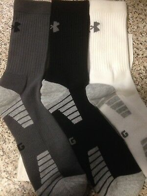 Under Armour Mens Heatgear Crew Socks 3 pack Mixed Large Size 9-12.5 UK
