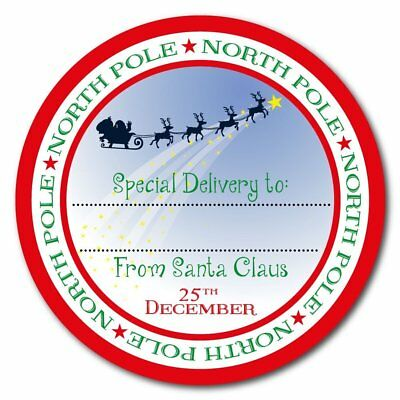 From Santa Claus - North Pole special delivery stickers - 60mm in diameter -gift