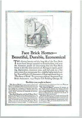 Vintage, Original, 1924 - Face Brick Homes Ad - Construction, Building
