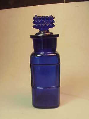 Cobalt Blue Label Under Glass Type Bottle With Poison Stopper