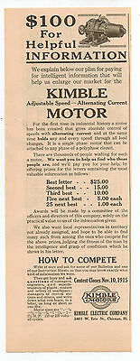 Vintage, Original, 1915 - Kimble Motor Advertisement - Engine