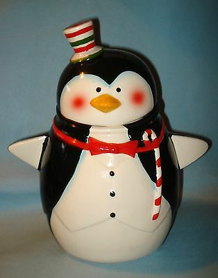 Christmas PENGUIN Ceramic COOKIE JAR Candy Cane Holder STRIPED HAT TUXEDO Bird
