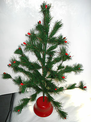 """21"""" Vintage Green Faux FEATHER CHRISTMAS TREE Red Hard Plastic Base German Japan"""