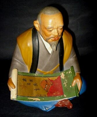 VTG Japanese HAKATA MIMASU DOLL Old Man Scroll Chalkware Figurine Statue JAPAN
