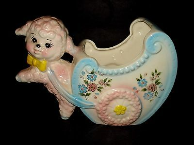 VTG 1950s Inarco Japan PINK BABY LAMB Flower CART Ceramic Nursery PLANTER S-6207