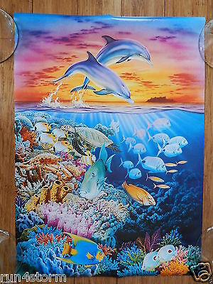 "Dolphins Tropical Underwater Ocean Fish Sunset Art ROBIN KONI poster 16"" x 19 ¾"""