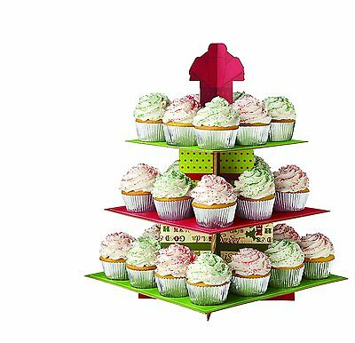 Wilton Holiday/Christmas Treat Stand Holds 24 Cupcakes 3-Tier New 1512-0882