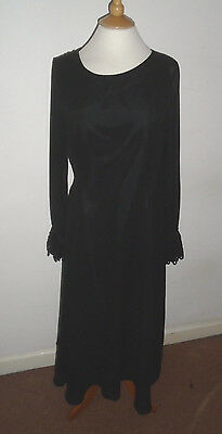 Vintage LAURA ASHLEY Long Black Silk Dress with Lace Detail Size 10
