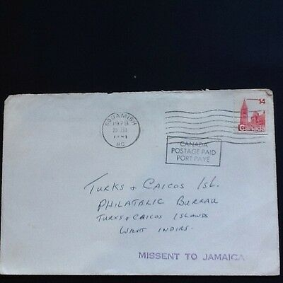 1979  Missent To Jamaica Cover From Canada