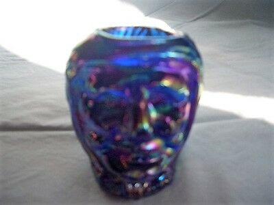 St. Clair Art Glass Witches Head Toothpick Holder in Cobalt Carnival Glass