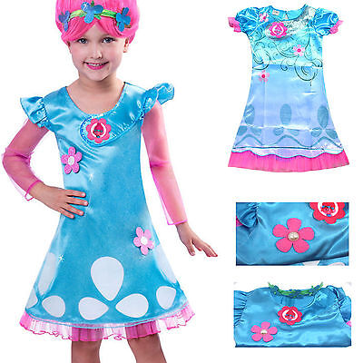 Kids Girl Lovely Dress Wig Trolls Poppy Costume Child Cosplay Party Outfit Suits