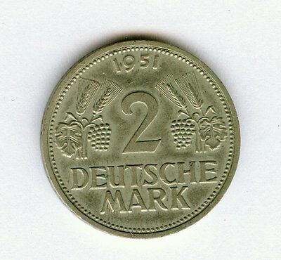 1951 G Germany 2 Deutsche Mark Coin                                        C