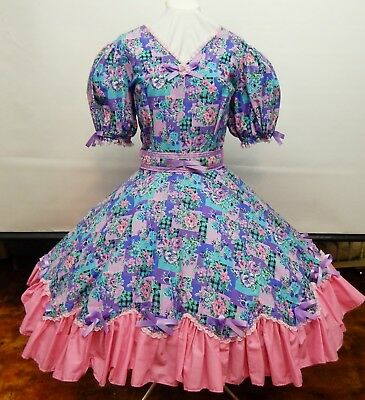Pink And Purple Floral Square Dance Dress