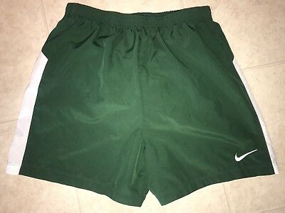 NIKE DRI FIT ~ Men's Green White Athletic Running Work Out Track Shorts ~ S