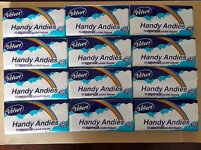 Handy Andies 4 ply tissues-- 12 pocket size packs of 10 tissues