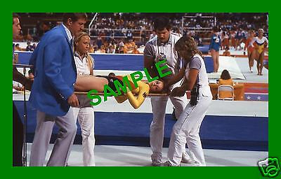 Original 1984 Press Transparency - West German Girl Injured Team Gymnastics