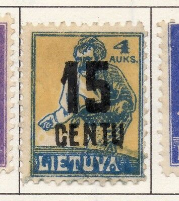 Lithuania 1919-22 Early Issue Fine Mint Hinged 15c. Surcharged 174391
