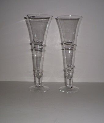 Vintage Hand Blown Fluted Passglas Applied Trailing Glassware Lot Of 2
