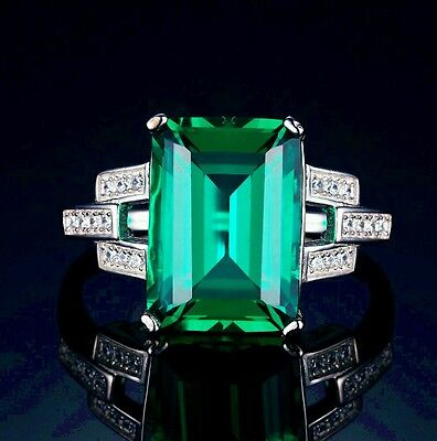6ct Emerald Ring Solid 925 Sterling Silver, Emerald, gemstones, stamped 925
