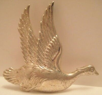 "Unusual Antique Sterling Silver Pin 2  1/4"" Flying Goose 1940s-50s"
