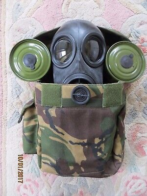 2004 British Army Fm12 Gas Mask, (Size 1), 2 Unused Filters, & Good Haversack!
